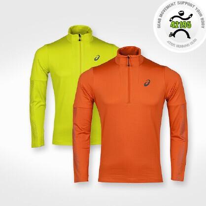 亚瑟士 Asics 男子马拉松跑步越野抓绒保暖长袖T恤 135214-0480