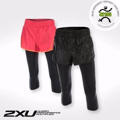 2XU FLEX 3 女子超轻马拉松跑步3英寸双层7分压缩短裤 WR4102